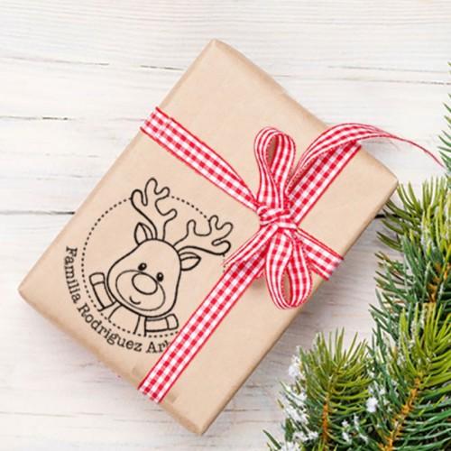 Sellos  Papel Navidad - Reno Personalizable